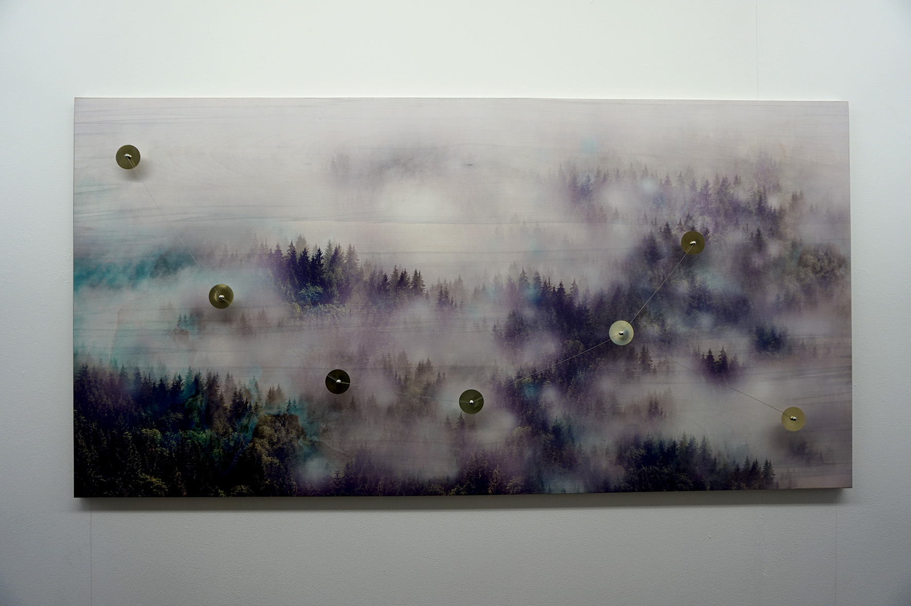 Alexandre Joly,La constellation des sapins 2017, print on wood, aluminium frame, piezo speakers, magnets, piano cords, copper wires, audio player, amplifier, 162x826 cm cm